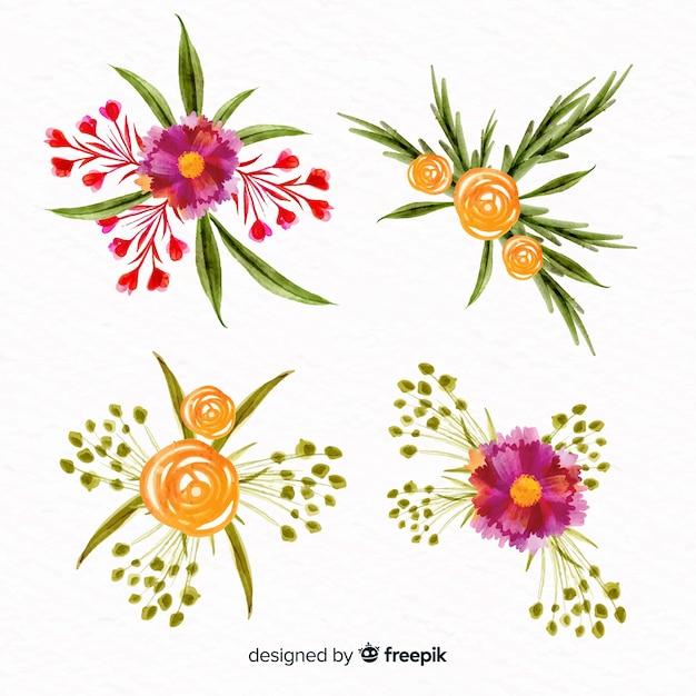 Aquarel stijl bloemencollectie Gratis Vector
