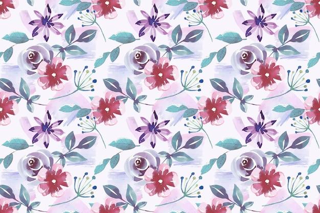 Aquarel stijl bloemmotief Gratis Vector