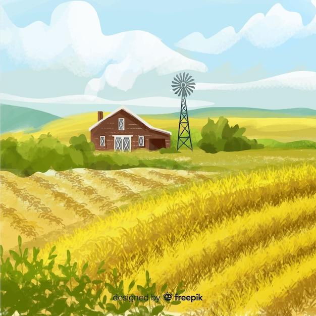 Aquarel stijl boerderij landschap-achtergrond Gratis Vector