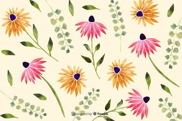 Aquarel stijl floral achtergrond Gratis Vector