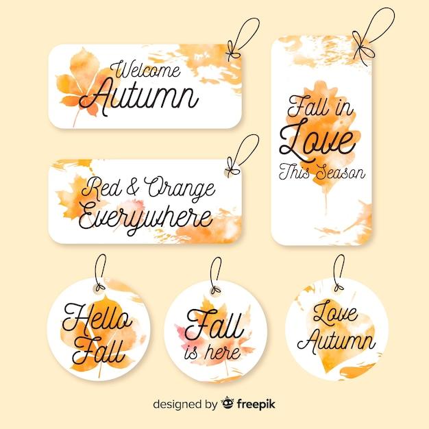 Aquarel stijl herfst badge collectie Gratis Vector