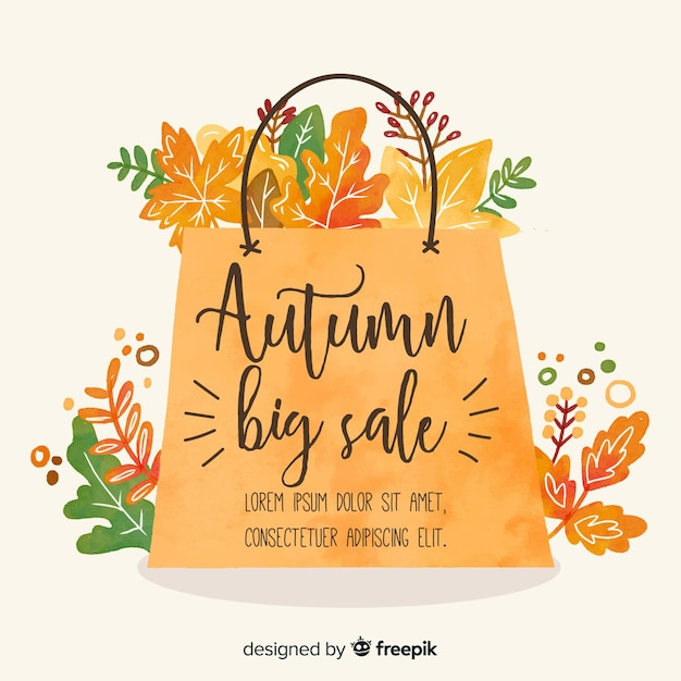 Aquarel stijl herfst verkoop banner Gratis Vector
