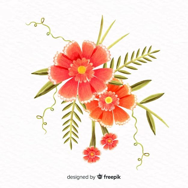 Aquarel stijl koraal bloem Gratis Vector