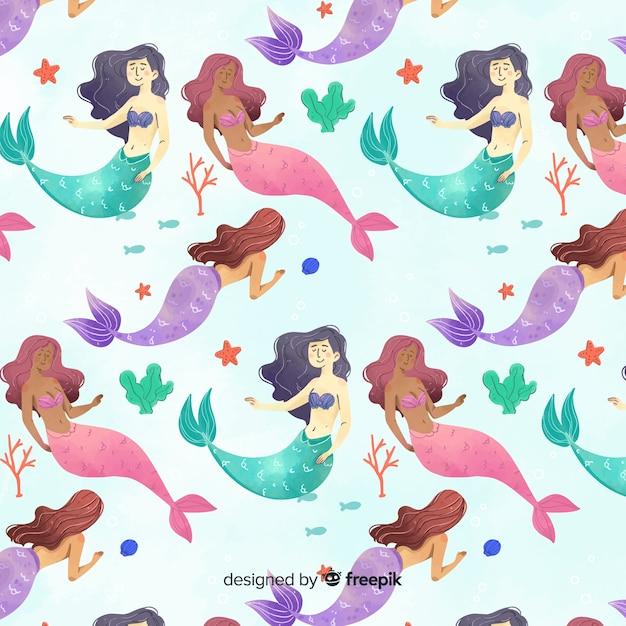 Aquarel stijl lachende zeemeermin patroon Gratis Vector