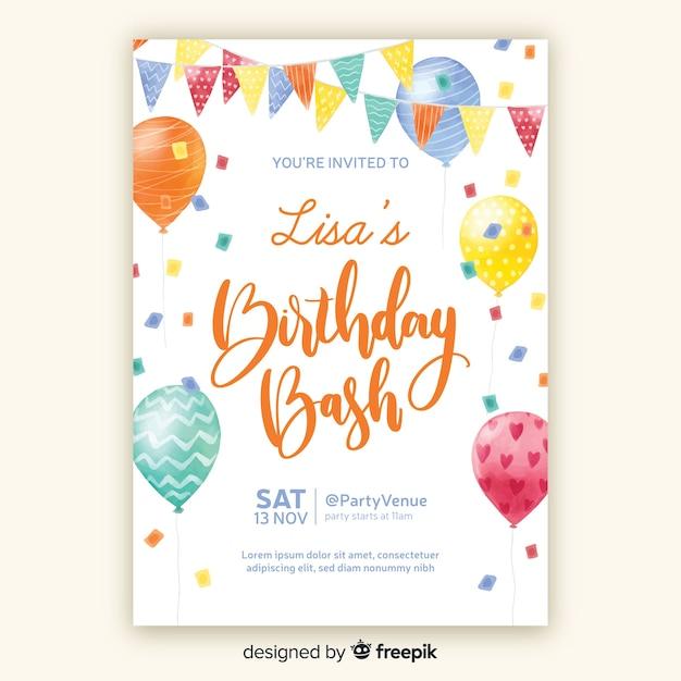 Aquarel stijl verjaardag uitnodiging sjabloon Gratis Vector