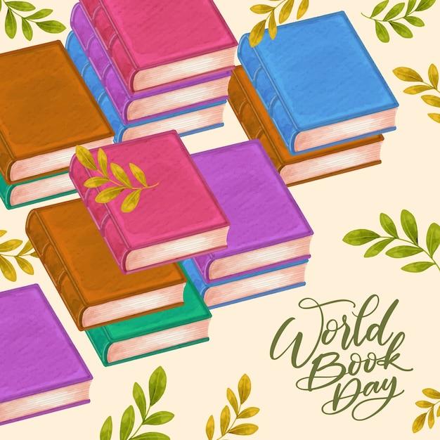 Aquarel stijl wereldboekendag Gratis Vector