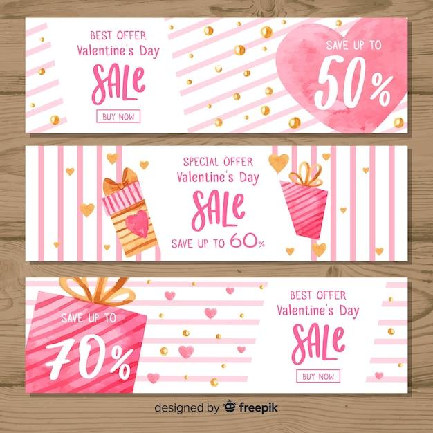 Aquarel strepen valentijn verkoop banner Premium Vector