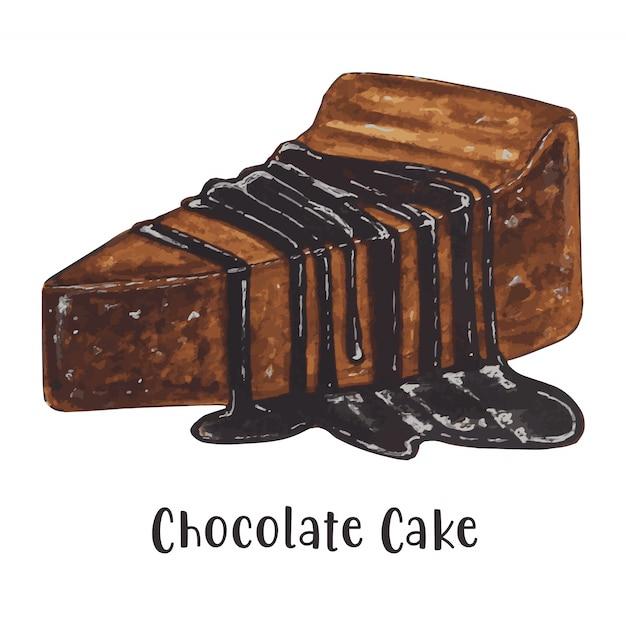 Aquarel stuk chocoladetaart Premium Vector