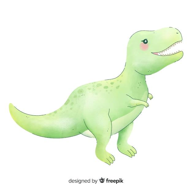 Aquarel t-rex achtergrond Gratis Vector
