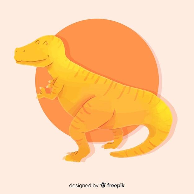 Aquarel t-rex dinosaurus achtergrond Gratis Vector