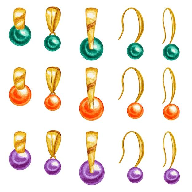 Aquarel tekenen gouden hanger en oorbellen, edelsteen kralen met gouden element. Premium Vector