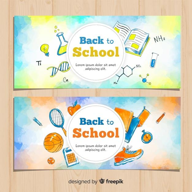 Aquarel terug naar school banners Gratis Vector