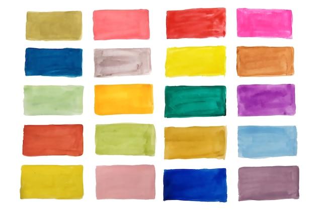 Aquarel textuur kleurrijke rechthoeken set Gratis Vector