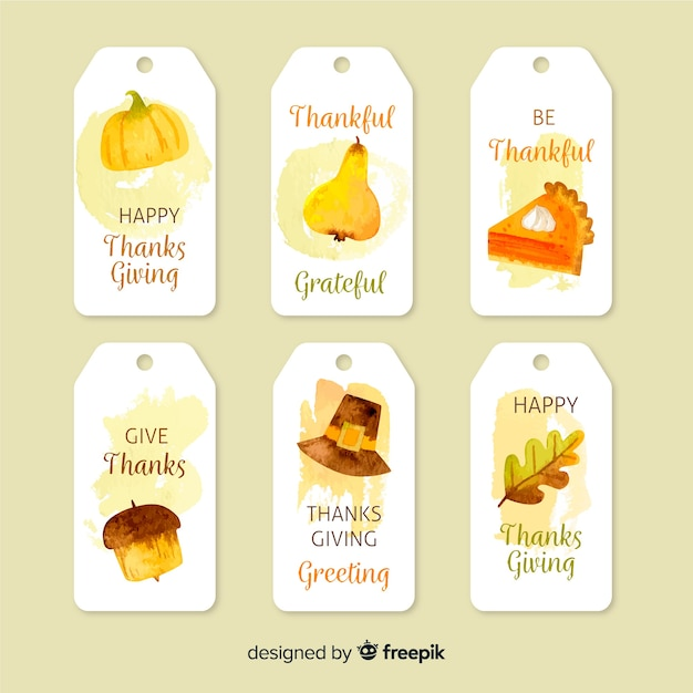 Aquarel thanksgiving badge collectie Gratis Vector
