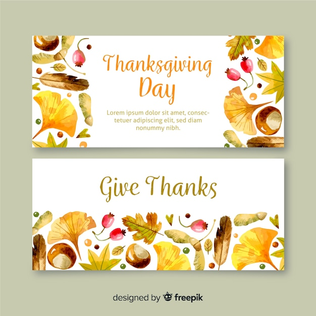 Aquarel thanksgiving banners Gratis Vector