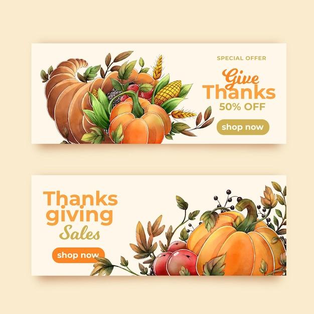 Aquarel thanksgiving banners Premium Vector