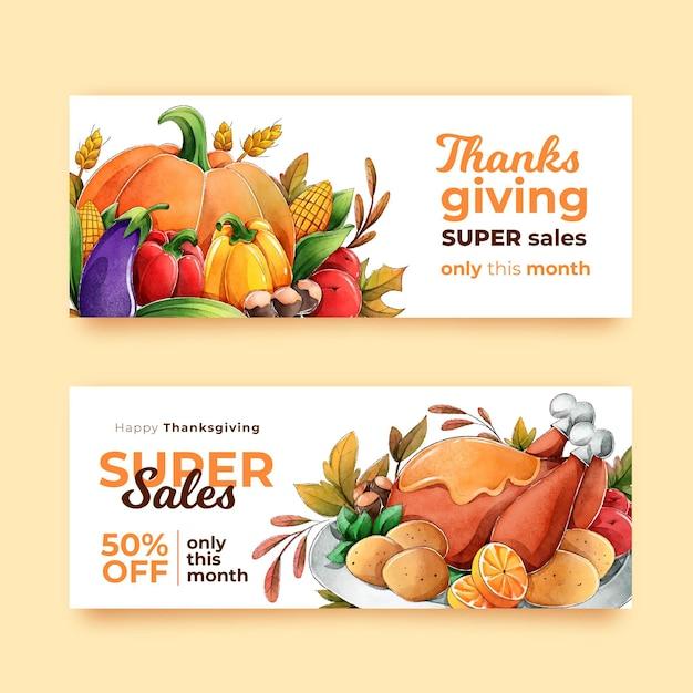Aquarel thanksgiving banners Gratis Vector