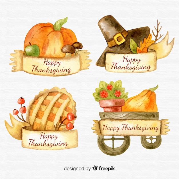 Aquarel thanksgiving dag label collectie Gratis Vector