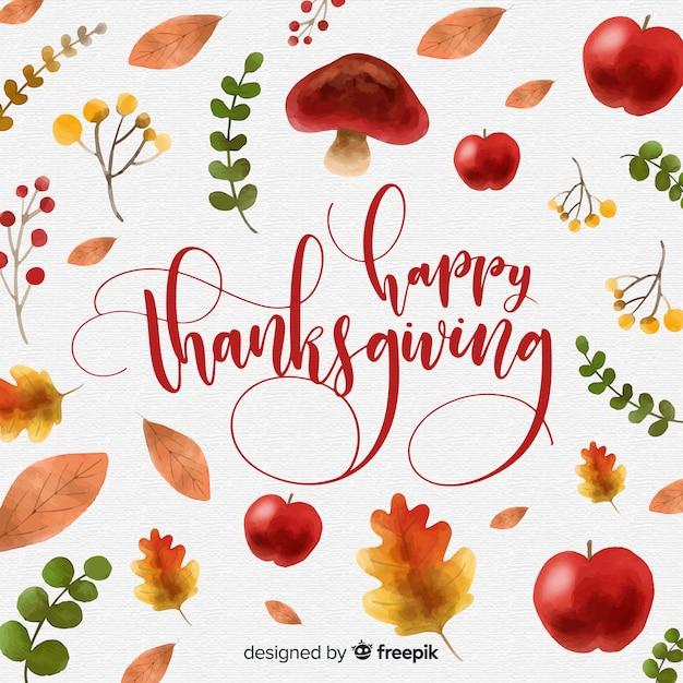 Aquarel thanksgiving day achtergrond Gratis Vector