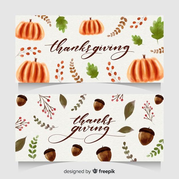 Aquarel thanksgiving day banner set Gratis Vector