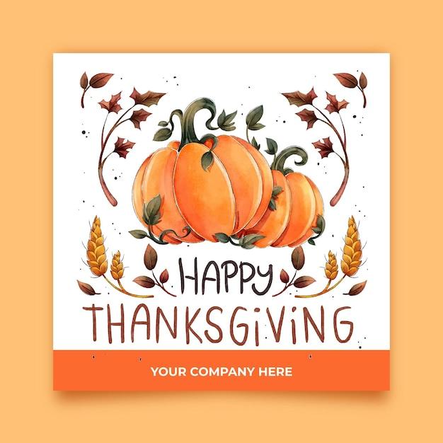Aquarel thanksgiving instagram-berichten Gratis Vector