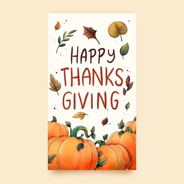 Aquarel thanksgiving instagram-verhalen Gratis Vector