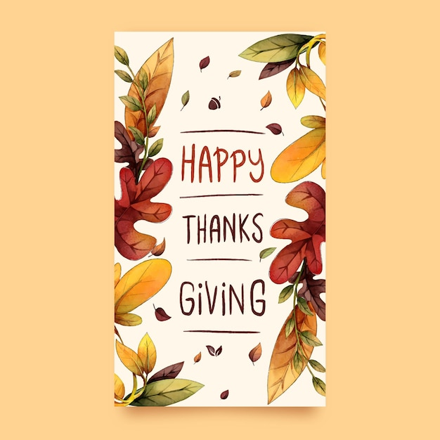 Aquarel thanksgiving instagram-verhalen Gratis Vector
