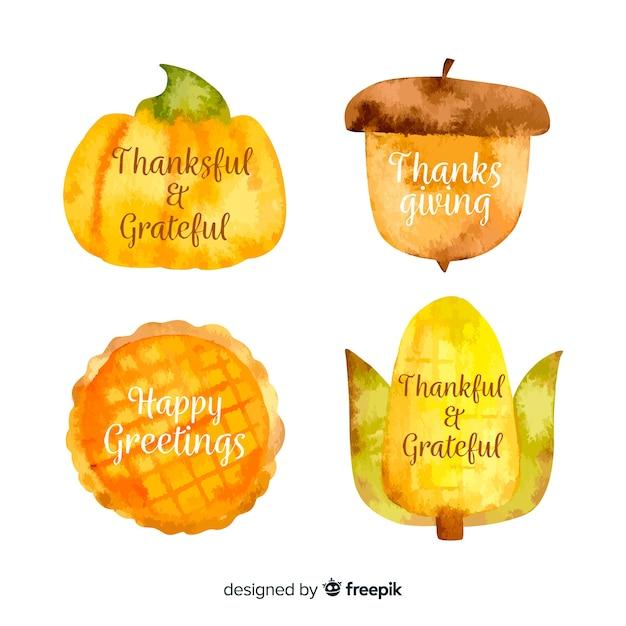 Aquarel thanksgiving label collectie Gratis Vector