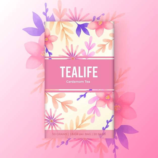 Aquarel thee ontwerp met bloemen Gratis Vector