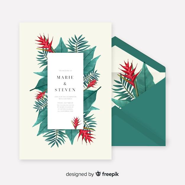 Aquarel tropische bladeren bruiloft uitnodiging sjabloon Gratis Vector