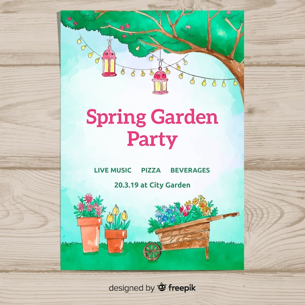 Aquarel tuin lente partij poster Gratis Vector
