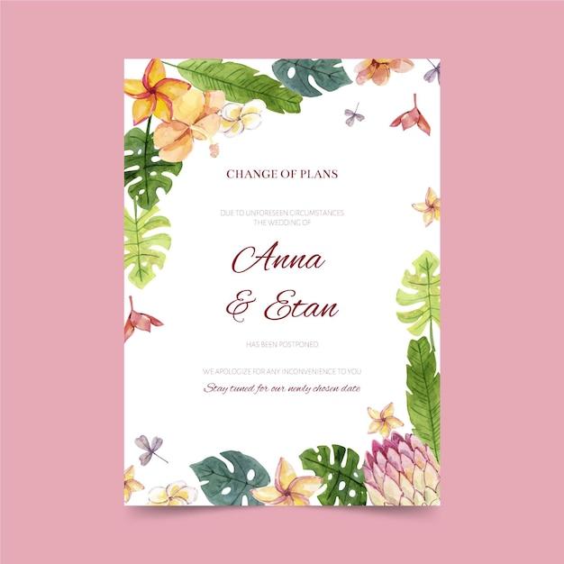 Aquarel uitgesteld bruiloft kaart Gratis Vector