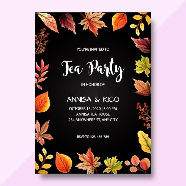 Aquarel uitnodigingskaart, tea party uitnodiging, moderne bruiloft uitnodiging Premium Vector