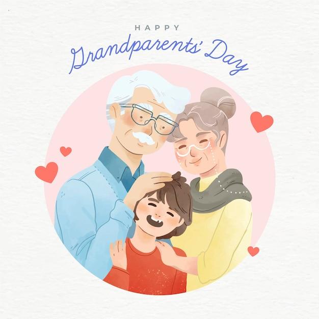 Aquarel usa nationale grootouders dag Gratis Vector