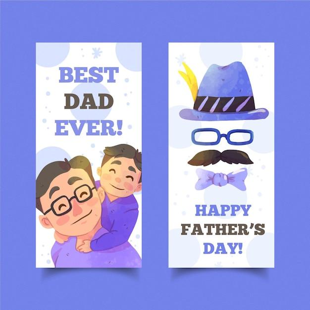Aquarel vaderdag banners collectie Gratis Vector