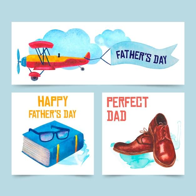 Aquarel vaderdag banners collectie Premium Vector