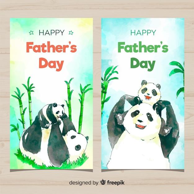 Aquarel vaders dag banners Gratis Vector