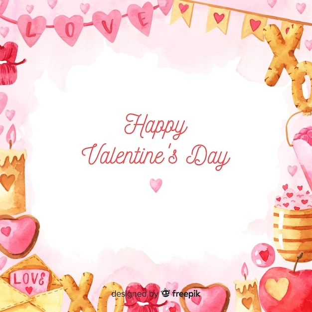Aquarel valentijnsdag achtergrond Gratis Vector