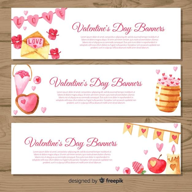 Aquarel valentijnsdag banners Gratis Vector