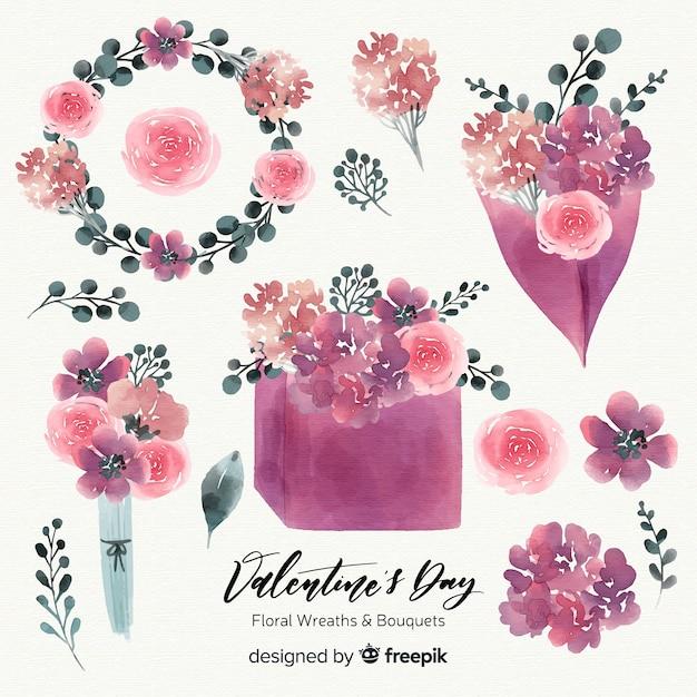 Aquarel valentijnsdag bloemenkransen & boeketten Gratis Vector