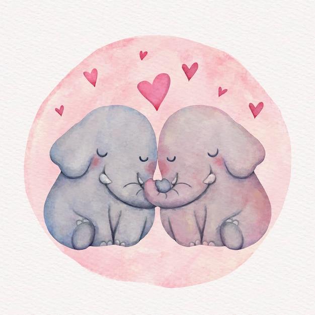 Aquarel valentijnsdag dierlijk paar Gratis Vector