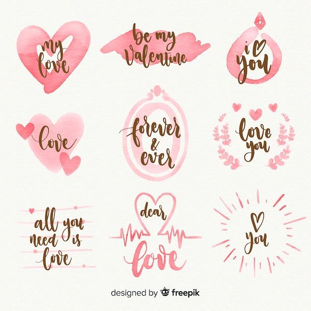 Aquarel valentijnsdag labelverzameling Gratis Vector