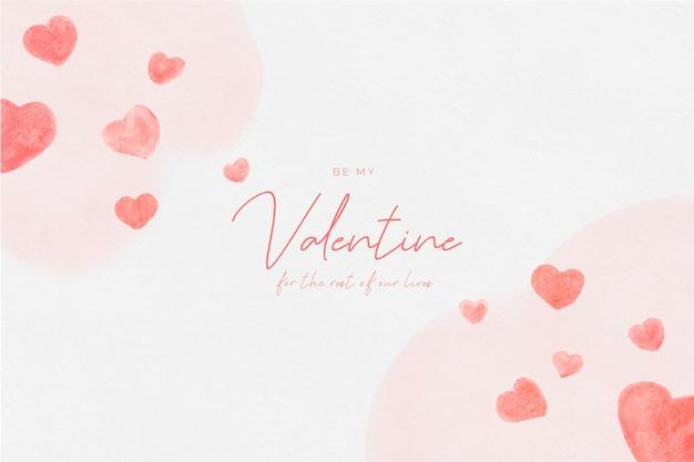 Aquarel valentijnsdag met hartjes Gratis Vector