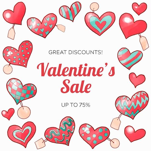 Aquarel valentijnsdag verkoop concept Gratis Vector