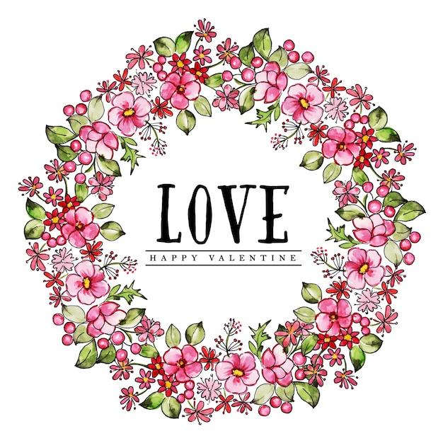 Aquarel valentine bloemen krans Premium Vector