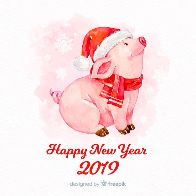 Aquarel varken chinees nieuwjaar achtergrond Gratis Vector