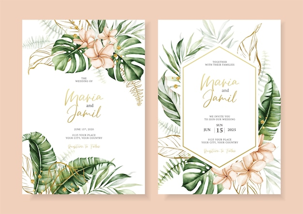 Aquarel vector set bruiloft uitnodiging kaartsjabloon ontwerp met tropische bladeren decoratie Premium Vector