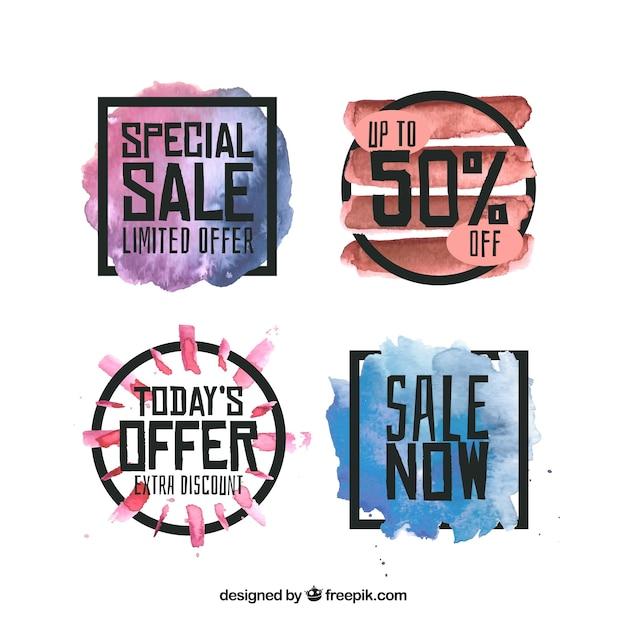 Aquarel verkooplabel collectie Gratis Vector