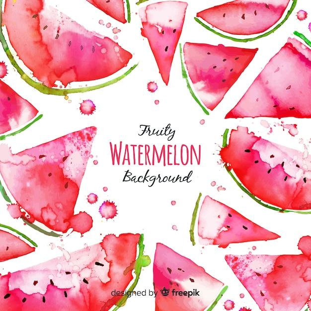 Aquarel verse watermeloen achtergrond Gratis Vector