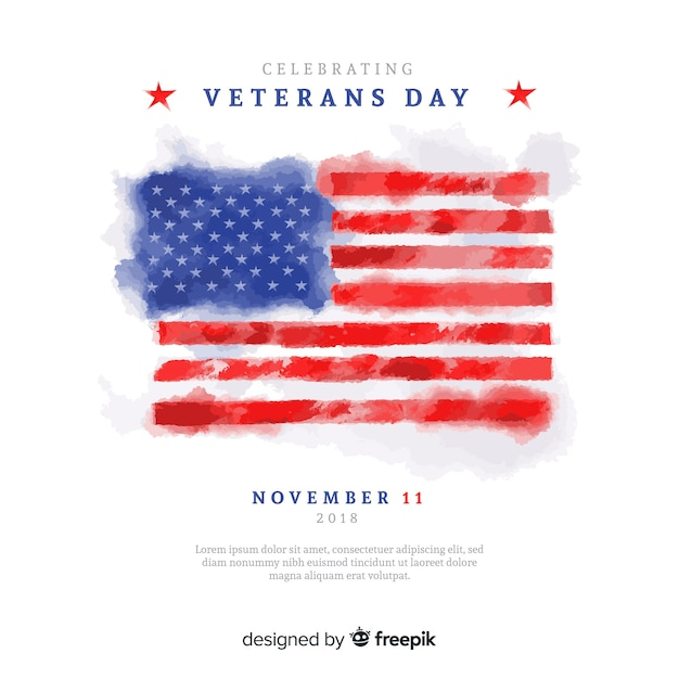 Aquarel veteranen dag achtergrond met ons vlag elementen Gratis Vector